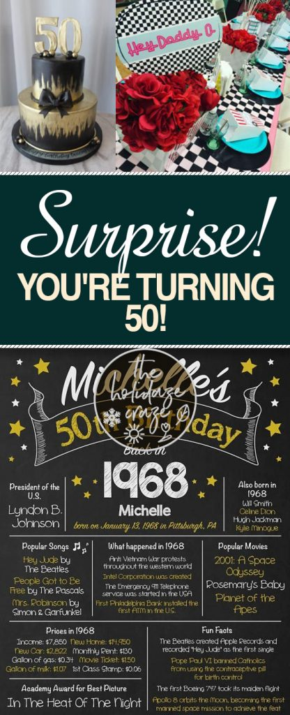 Surprise! You're Turning 50! | Party, Party Ideas, Party Planning, DIY Party Ideas, Simple Party Ideas, Birthday Party Ideas