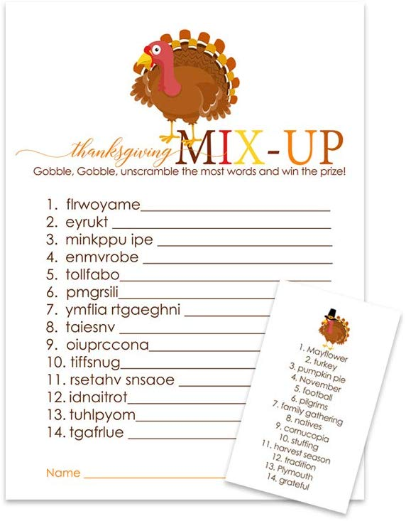 Thanksgiving word scramble is one of the best Thanksgiving games to play. Look here for more Thanksgiving games that you can play.