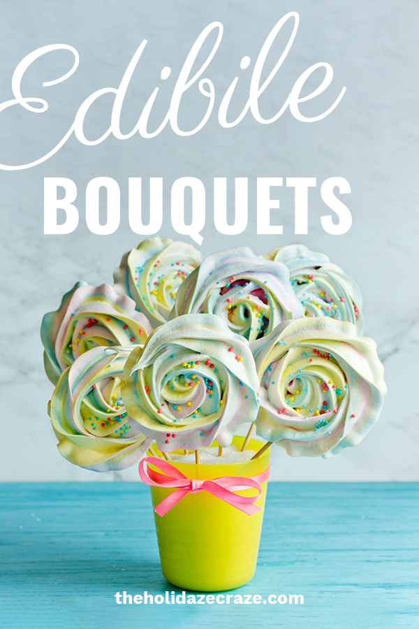 Say I love you with an edible bouquet for Valentine's day. Skip the flowers or cheesy cards and go right to the stomach. These bouquets are delicious and stunningly beautiful. Do something different this year. We have ideas for men, DIY, chocolate bouquets, fruit and more. Even cupid wondered why he didn't think of this. For these ideas and more, keep reading. #ediblebouquets #valentinesdaygifts