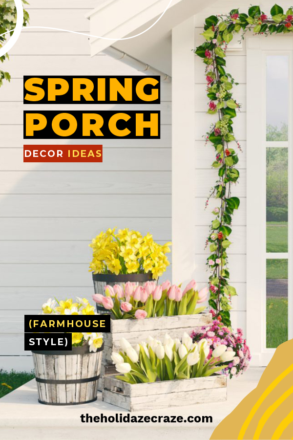 There's nothing as refreshing as Spring. Show off your happiness with blossoming ideas for farmhouse porch decor by reading this post. Ideas include essential farmhouse elements you will love. #springfarmhouseporchdecor #porchdecoratingideas #farmhouseporchdecor