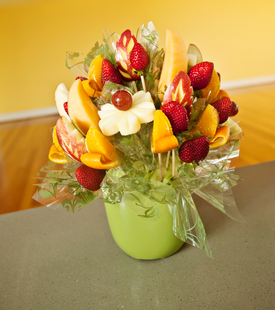 If you're wanting to ditch the flowers this Valentine's Day, try giving your special someone one of these delicious edible bouquets! This fresh fruit edible bouquet is sure to put a smile on the face of your loved one.
